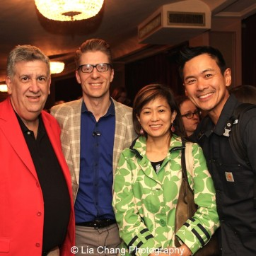 Elliott Maisie, Lorenzo Thione, Mikiko Suzuki MacAdams, and Joel de la Fuente at the Longacre Theatre in New York at the first preview of ALLEGIANCE on October 6, 2015. Photo by Lia Chang
