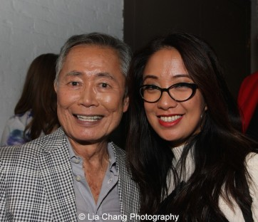 George Takei and Jaygee Macapugay backstage at the Longacre Theatre in New York after the first preview of ALLEGIANCE on October 6, 2015. Photo by Lia Chang