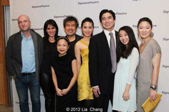 Matthew Maher, Leigh Silverman, David Henry Hwang, Julyana Soelistyo, Lesley Hu, Greg Watanabe, Annie Q and Jennifer Lim at the opening night party for Signature Theatre Company's revival of Golden Child at The Pershing Square Signature Center on November 13, 2012. Photo by Lia Chang