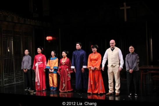 Curtain Call for Signature Theatre Company's revival of David Henry Hwang's Golden Child at The Pershing Square Signature Center in New York on November 13, 2012. Photo by Lia Chang