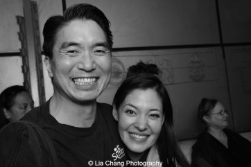 Greg Watanabe and Manna Nichols backstage at the Longacre Theatre in New York after the first preview of ALLEGIANCE on October 6, 2015. Photo by Lia Chang