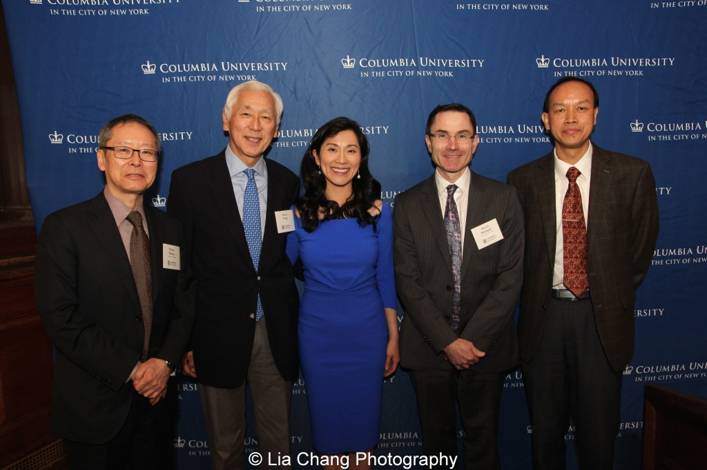 Haruo Shirane, Shincho Professor of Japanese Literature and Chair of the Department of East Asian Languages and Cultures at Columbia University, Oscar L. Tang, Agnes Hsu-Tang, David Madigan, EVP and Dean of the Faculty of Arts and Sciences at Columbia University, and Li Feng, Professor of Early Chinese History and Archaeology at Columbia University, attend the inaugural reception for The Tang Center for Early China in the Low Library at Columbia University in New York on October 2, 2015. Photo by Lia Chang