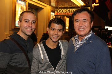 James Babcock, Telly Leung and Don Aoki at the Longacre Theatre in New York after the first preview of ALLEGIANCE on October 6, 2015. Photo by Lia Chang