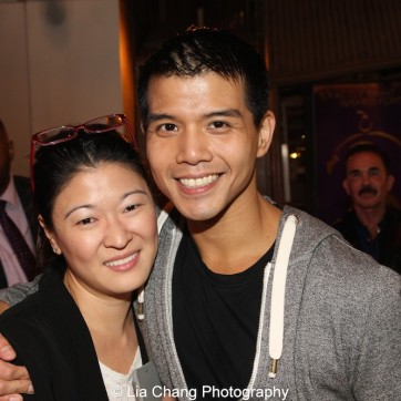 Jennifer Lim and Telly Leung at the Longacre Theatre in New York after the first preview of ALLEGIANCE on October 6, 2015. Photo by Lia Chang