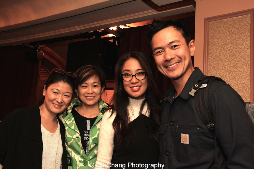 Jennifer Lim, Mikiko Suzuki MacAdams, Jaygee Macapugay and Joel de la Fuente at the first preview of Allegiance at the Longacre Theatre in New York on October 6, 2015. Photo by Lia Chang