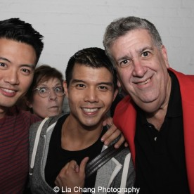Karl Josef Co, a guest, Telly Leung and producer Elliott Maise at the Longacre Theatre in New York after the first preview of ALLEGIANCE on October 6, 2015. Photo by Lia Chang