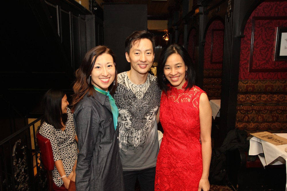 Kim Varhola and her husband Michael K. Lee with Lia Chang at Hurley's after the first preview of ALLEGIANCE on October 6, 2015. Photo by Karl Joseph Co