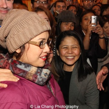 Lea Salonga and her fans after the first preview of Allegiance at the Longacre Theatre in New York on October 6, 2015. Photo by Lia Chang