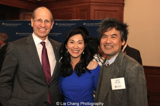 Maxwell K. Hearn, Douglas Dillon Chairman, Department of Asian Art, The Metropolitan Museum of Art, Dr. Agnes Hsu-Tang and David Henry Hwang attend the inaugural reception for The Tang Center for Early China in the Low Library at Columbia University on October 2, 2015. Photo by Lia Chang