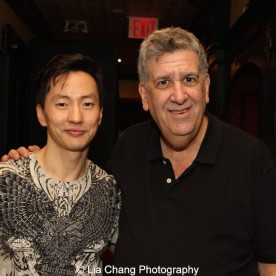 Michael K. Lee and producer Elliott Maise at Hurley's after the first preview of ALLEGIANCE on October 6, 2015. Photo by Lia Chang