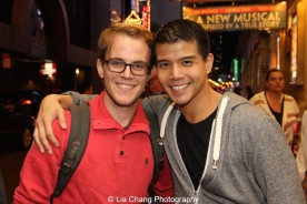 Producer Mike Karns and Telly Leung at the Longacre Theatre in New York after the first preview of ALLEGIANCE on October 6, 2015. Photo by Lia Chang