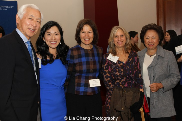 Oscar Tang and his wife Agnes Hsu-Tang, Pam B. Schafler, Chairman of the New-York Historical Society, Louise Mirrer, President and CEO of the New-York Historical Society, and Shirley Young attend the inaugural reception for The Tang Center for Early China in the Low Library at Columbia University on October 2, 2015. Photo by Lia Chang