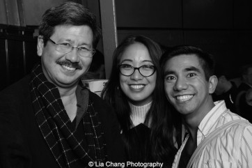 Scott Watanabe, Jaygee Macapugay and Aaron J. Albano backstage at the Longacre Theatre in New York after the first preview of ALLEGIANCE on October 6, 2015. Photo by Lia Chang