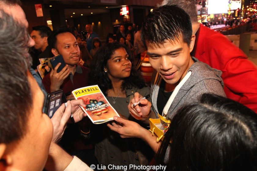 Telly Leung signs autographs at the Longacre Theatre in New York after the first preview of ALLEGIANCE on October 6, 2015. Photo by Lia Chang