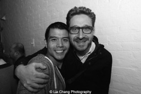 Telly Leung and GODSPELL director Daniel Goldstein backstage at the Longacre Theatre in New York after the first preview of ALLEGIANCE on October 6, 2015. Photo by Lia Chang