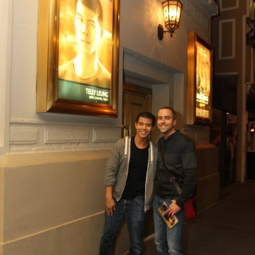Telly Leung and partner Jame Babcock at the Longacre Theatre in New York after the first preview of ALLEGIANCE on October 6, 2015. Photo by Lia Chang