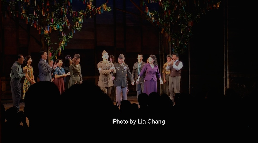 The cast of ALLEGIANCE at the curtain call of their first preview at the Longacre Theatre in New York on October 6, 2015. Photo by Lia Chang