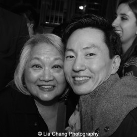 Virginia Wing and Michael K. Lee at the Longacre Theatre in New York after the first preview of ALLEGIANCE on October 6, 2015. Photo by Lia Chang
