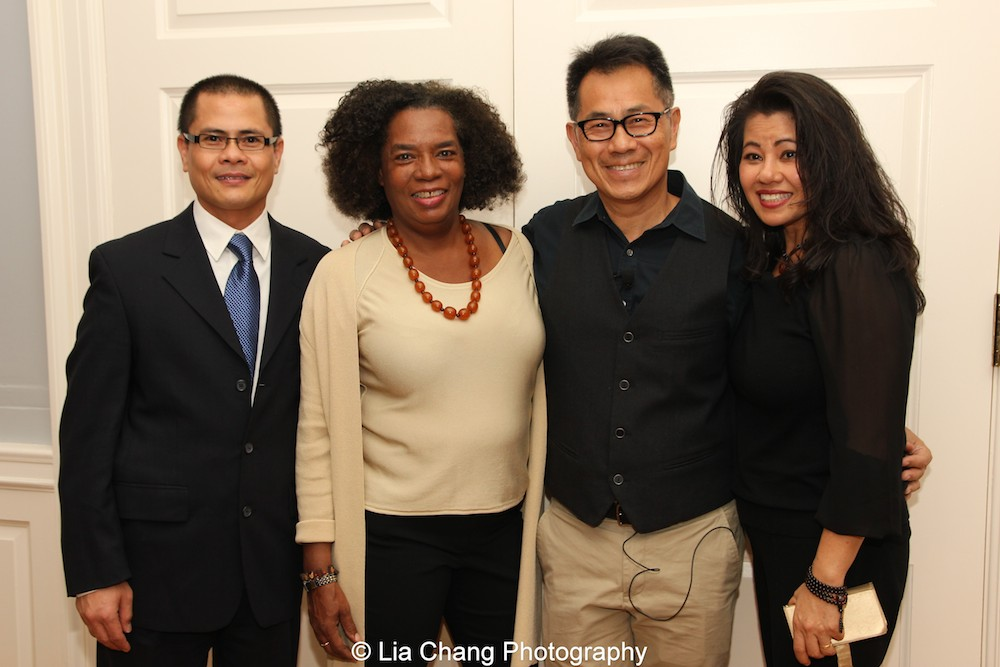 "Screening of ""The Killing Fields of Dr. Haing S. Ngor,"" International House, October 22, 2015, New York. L-R Wayne Ngor, Dr. Ngor's nephew and narrator; Pat Golden, casting director; director Arthur Dong; and Sophia Ngor, Dr. Ngor's niece and film subject. Photo by Lia Chang"