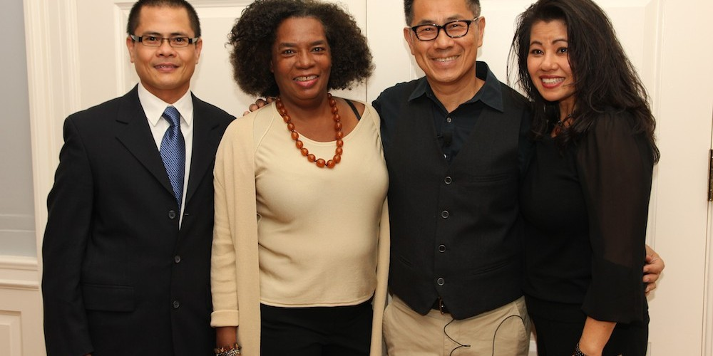"""Screening of """"The Killing Fields of Dr. Haing S. Ngor,"""" International House, October 22, 2015, New York. L-R Wayne Ngor, Dr. Ngor's nephew and narrator; Pat Golden, casting director; director Arthur Dong; and Sophia Ngor, Dr. Ngor's niece and film subject. Photo by Lia Chang"""