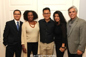 "Screening of ""The Killing Fields of Dr. Haing S. Ngor,"" International House, October 22, 2015, New York. L-R Wayne Ngor, Dr. Ngor's nephew and narrator; Pat Golden, casting director; director Arthur Dong; and Sophia Ngor, Dr. Ngor's niece and film subject and her husband Adam Demetri."