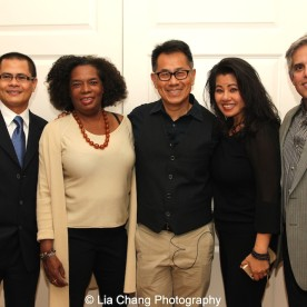 """Screening of """"The Killing Fields of Dr. Haing S. Ngor,"""" International House, October 22, 2015, New York. L-R Wayne Ngor, Dr. Ngor's nephew and narrator; Pat Golden, casting director; director Arthur Dong; and Sophia Ngor, Dr. Ngor's niece and film subject and her husband Adam Demetri."""
