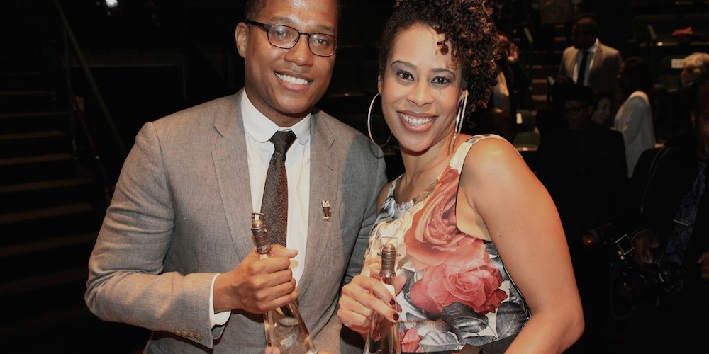 2015 Steinberg Award winners Branden Jacobs-Jenkins and Dominique Morisseau attend the 2015 Steinberg Playwright Awards on November 16, 2015 in New York City. Photo by Lia Chang