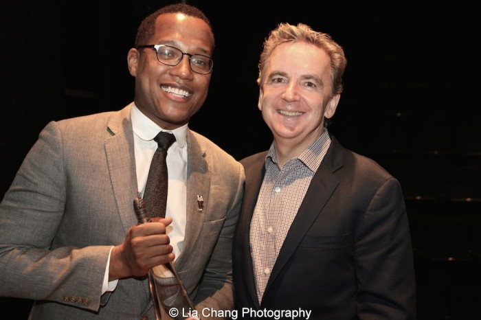 2015 Steinberg Playwright Award winner Branden Jacobs-Jenkins and James Houghton, Founding Artistic Director of Signature Theatre attend the 2015 Steinberg Playwright Awards on November 16, 2015 in New York City. Photo by Lia Chang