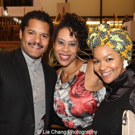 Brandon J. Dirden, 2015 Steinberg Playwright Award winner Dominique Morisseau and Crystal Dickinson attend the 2015 Steinberg Playwright Awards on November 16, 2015 in New York City. Photo by Lia Chang