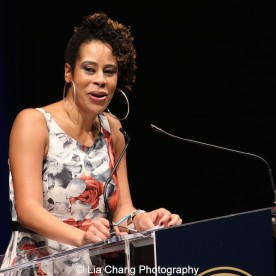 2015 Steinberg Award winner Dominique Morisseau speaks at the 2015 Steinberg Playwright Awards on November 16, 2015 in New York City. Photo by Lia Chang