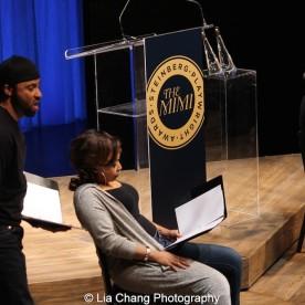 Jason Dirden, Nikiya Mathis and Lynda Gravatt perform at the 2015 Steinberg Playwright Awards on November 16, 2015 in New York City. Photo by Lia Chang