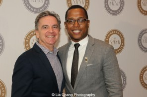 James Houghton, Founding Artistic Director of Signature Theatre and 2015 Steinberg Playwright Award winner Branden Jacobs-Jenkins attend the 2015 Steinberg Playwright Awards on November 16, 2015 in New York City. Photo by Lia Chang