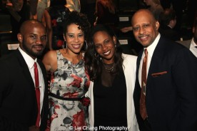 Jimmy Keys with his wife 2015 Steinberg Award winner Dominique Morisseau, Kamilah Forbes and Ruben Santiago-Hudson attend the 2015 Steinberg Playwright Awards on November 16, 2015 in New York City. Photo by Lia Chang