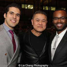 Joel Perez, Victory Gardens' Chay Yew and a guest attend the 2015 Steinberg Playwright Awards on November 16, 2015 in New York City. Photo by Lia Chang