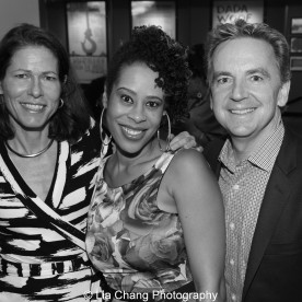 Paige Evans, 2015 Steinberg Award winner Dominique Morisseau and Signature Theatre's Founding Artistic Director James Houghton attend the 2015 Steinberg Playwright Awards on November 16, 2015 in New York City. Photo by Lia Chang