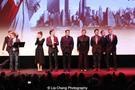 Morgan Wandell, Head of Drama Series for Amazon Studio, Alexa Davalos, Luke Kleintank, Rufus Sewell, Cary-Hiroyuki Tagawa, Joel de la Fuente, Carsten Norgaard, DJ Qualls, attend the episode screening and premiere for the Amazon Originals Series 'The Man in the High Castle' at Alice Tully Hall on November 2, 2015. Photo by Lia Chang