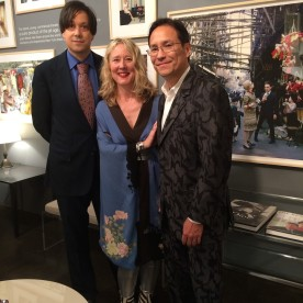 Curator Alan Rosenberg, Mark Shaw's son David Shaw and his wife Juliet Cuming Shaw, co-founders of The Mark Shaw Photographic Archive, at the opening reception of Tiger Morse by Mark Shaw: Jet Set Style Quest, 1962 at The Liz O'Brien Gallery in New York on November 3, 2015. Photo by Lia Chang
