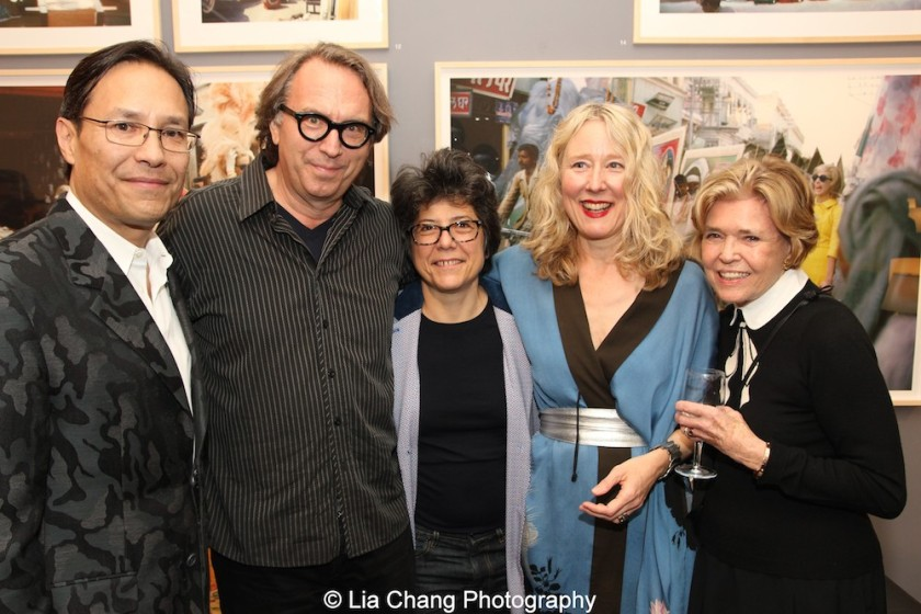 David Shaw, Michael Owen, Elizabeth Santeix, Juliet Cuming Shaw and her godmother Dolores Zaccaro at the opening reception of Tiger Morse by Mark Shaw: Jet Set Style Quest, 1962 at The Liz O'Brien Gallery in New York on November 3, 2015. Photo by Lia Chang