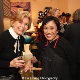 Dolores Zaccaro and Pat Suzuki, Mark Shaw's second wife, at the opening reception of Tiger Morse by Mark Shaw: Jet Set Style Quest, 1962 at The Liz O'Brien Gallery in New York on November 3, 2015. Photo by Lia Chang