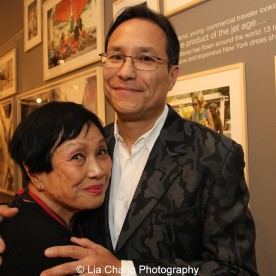 Pat Suzuki and her son David Shaw at the opening reception of Tiger Morse by Mark Shaw: Jet Set Style Quest, 1962 at The Liz O'Brien Gallery in New York on November 3, 2015. Photo by Lia Chang