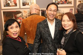 Pat Suzuki, her son David Shaw and Susan Hum at the opening reception of Tiger Morse by Mark Shaw: Jet Set Style Quest, 1962 at The Liz O'Brien Gallery in New York on November 3, 2015. Photo by Lia Chang