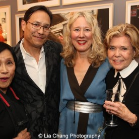 Pat Suzuki with her son David Shaw, her daughter-in-law Juliet Cuming Shaw and Dolores Zaccaro at the opening reception of Tiger Morse by Mark Shaw: Jet Set Style Quest, 1962 at The Liz O'Brien Gallery in New York on November 3, 2015. Photo by Lia Chang