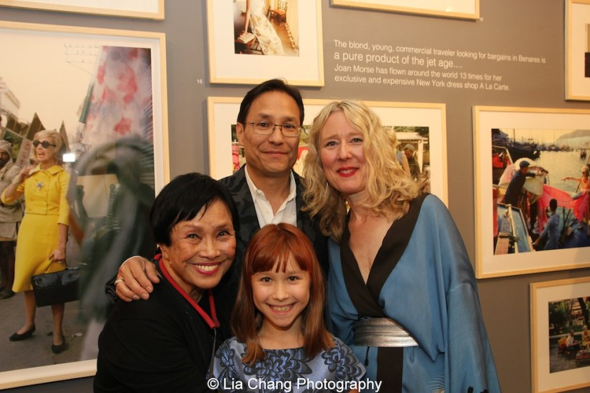 Mark Shaw's second wife Pat Suzuki with their son David Shaw, her daughter-in-law Juliet Cuming Shaw and her granddaughter Luna Cuming Shaw at the opening reception of Tiger Morse by Mark Shaw: Jet Set Style Quest, 1962 at The Liz O'Brien Gallery in New York on November 3, 2015. Photo by Lia Chang