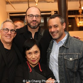 A guest, Pat Suzuki, Paul Donzella and Pace Kaminsky at the opening reception of Tiger Morse by Mark Shaw: Jet Set Style Quest, 1962 at The Liz O'Brien Gallery in New York on November 3, 2015. Photo by Lia Chang