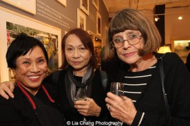 Pat Suzuki, Susan Hum and Trudy Owett, Mark Shaw's former Office manager, at the opening reception of Tiger Morse by Mark Shaw: Jet Set Style Quest, 1962 at The Liz O'Brien Gallery in New York on November 3, 2015. Photo by Lia Chang