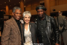 André De Shields, Elise Santora and SaMi Chester at 'On Your Feet!' at the Marquis Theatre in New York on November 4, 2015. Photo by Lia Chang