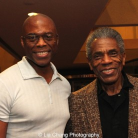 Erich McMillan McCall and André De Shields at 'On Your Feet!' at the Marquis Theatre in New York on November 4, 2015. Photo by Lia Chang