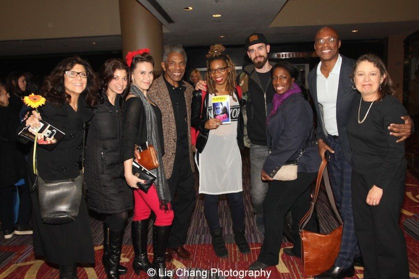 Lenora Nemetz, Paula Caselton, Holly Butler, André De Shields, Ari Groover, Virginia Ann Woodruff, Erich McMillan McCall, Kay Walbye at 'On Your Feet!' at the Marquis Theatre in New York on November 4, 2015. Photo by Lia Chang