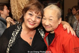 Orange is the New Black stars Lin Tucci and Lori Tan Chinn at 'On Your Feet!' at the Marquis Theatre in New York on November 4, 2015. Photo by Lia Chang