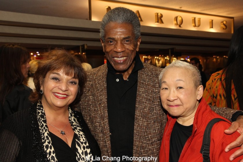 Lin Tucci, André De Shields and Lori Tan Chinn at 'On Your Feet!' at the Marquis Theatre in New York on November 4, 2015. Photo by Lia Chang